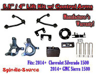 "2014+ Chevy Silverado GMC Sierra 1500 5.5"" / 4"" Spindle Lift KIT Control Arms"