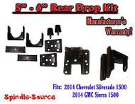 """2014 - 2018 Chevy Silverado GMC Sierra 1500 5"""" - 6"""" Rear Lowering Drop Hanger Flip Kit"""