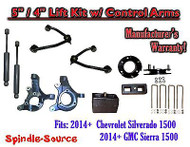 "2014+ Chevy Silverado GMC Sierra 1500 5"" / 4"" Spindle Lift Control Arms + SHOCKS"