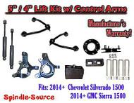 "2014+ Chevy Silverado GMC Sierra 1500 5"" / 4"" Spindle Lift Control Arms + SHOCKS"