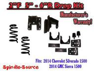 2014-16 Chevy Silverado GMC Sierra 2/5 - 2/6 Adjustable Lowering Kit Coils Hanger