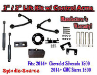 "2014+ Chevy Silverado GMC Sierra 1500 3"" inch / 3"" CONTROL ARM LIFT KIT + SHOCKS"