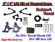 "2014+ Chevy Silverado GMC Sierra 1500 6"" / 4"" Spindle 2WD Lift KIT Control Arms"