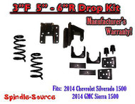2014-16 Chevy Silverado GMC Sierra 3/5 - 3/6 Adjustable Lowering Kit Coils Hanger
