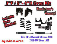 2014-16 Chevy Silverado GMC Sierra 3/5 - 3/6 Adjustable Lowering Kit + Rear Shocks