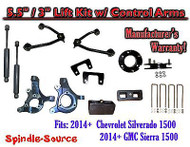 "2014+ Chevy Silverado GMC Sierra 5.5"" / 3"" Spindle Lift Control Arms + SHOCKS"