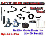 "2014+ Chevy Silverado GMC Sierra 5.5"" / 4"" Spindle Lift Control Arms + SHOCKS"
