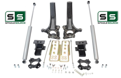 "7""/5"" Lift Spindle Blocks U-bolt Shocks Lift Kit  2015-2018 Ford F-150 2WD"