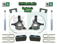 "2015+ Silverado Sierra 1500 2WD 6"" / 5"" Lift Spindle Kit STAMPED / ALUM + SHOCKS"