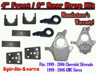 "4"" - 6"" Lower Drop Kit 1999 - 2007 Chevy Chevrolet Silverado GMC Sierra 1500 4/6"