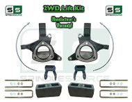 "2015+ Silverado Sierra 1500 2WD 5"" / 5"" Lift Spindle Kit Shackles STAMPED / ALUM"