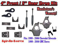 "4"" - 5"" Drop Kit 1999 - 2007 Chevy Chevrolet Silverado GMC Sierra 1500 + Shocks"