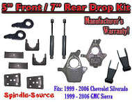 "5"" - 7"" Drop Kit 1999 - 2007 Chevy Chevrolet Silverado GMC Sierra 1500 + Shocks"