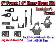 "4"" - 6"" Lower Drop Kit 99 - 06 Chevy Chevrolet Silverado GMC Sierra 1500 Shocks"