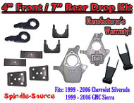 "4"" - 7"" Drop Lower Kit 1999 - 2007 Chevy Chevrolet Silverado GMC Sierra 1500 4/7"