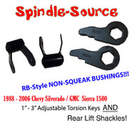 "88 - 06 3"" Chevy Silverado GMC Sierra 1500 Torsion Keys AND 1.75"" Rear Shackles"