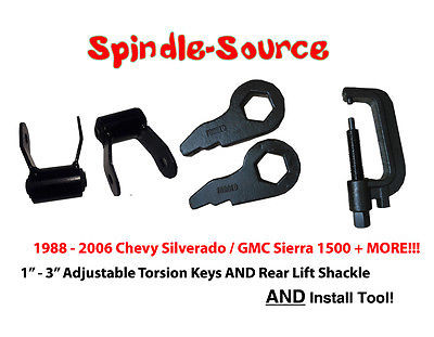 "99-06 GMC 1/""-3/"" Forged Torsion Keys Torsion Install Tool Shock Extenders"