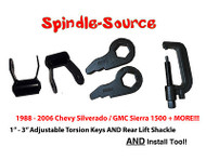"88 - 06 Chevy GMC 1500 3"" Torsion Keys + 1.75"" Rear Shackles + INSTALL TOOL"