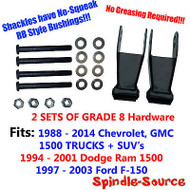 88 - 2014 DROP Shackles Chevy Silverado GMC Sierra 1500 RB Bushing 2x GRADE 8