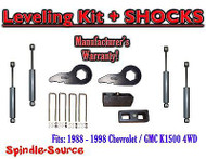 "88 - 98 Chevy GMC 1500 Torsion Level 3"" FORGED Torsion KEYS + 3"" Blocks + SHOCKS"