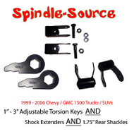 "99 - 06 CHEVY GMC 1500 Truck Torsion Keys + Extenders + 1.75"" Rear LIFT Shackles"
