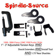 99 - 06 CHEVY GMC 1500 Truck Torsion Keys + TOOL + Extenders + LIFT Shackles