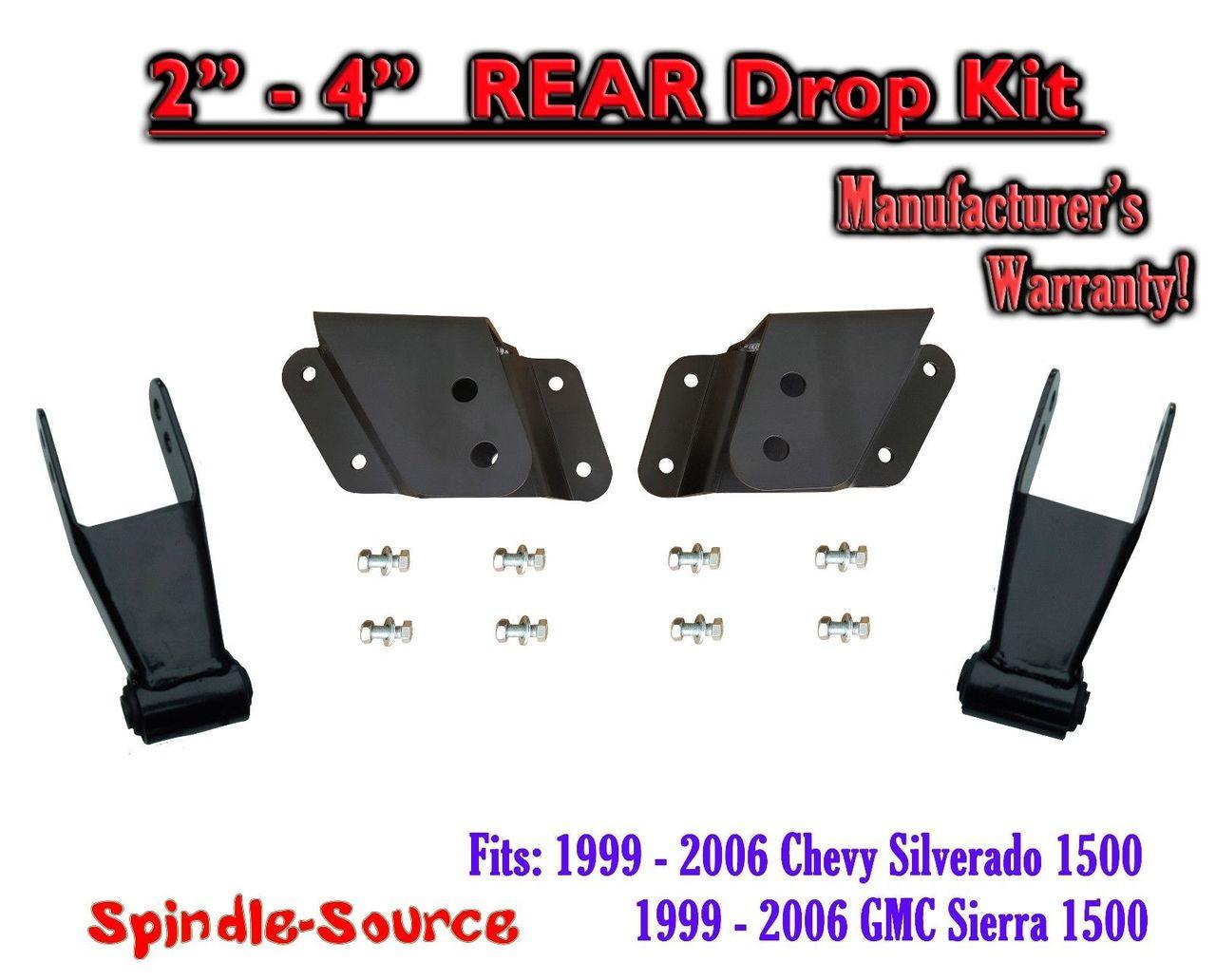 """Chevy 4/"""" Drop Kit Rear Shackles Hangers 1999-2006 Silverado GMC Sierra 1500"""