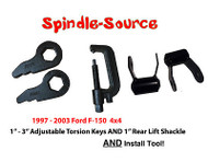 "97 - 03 Ford F-150 Torsion Keys Lifting Leveling + TOOL + 1"" REAR LIFT SHACKLES"