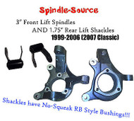 "99 - 2007 Silverado Sierra 1500 2WD 3"" Lift Spindles + 1.75"" REAR Lift Shackles"