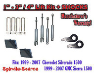 "99 - 2006 CHEVY GMC 1500 Silverado Sierra CREW CAB 1 - 3"" Keys / 4"" Kit + SHOCKS"