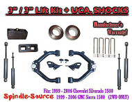 "99 - 07 Chevy Silverado GMC Sierra 1500 2WD LEVELING KIT 3"" / 3"" + SHOCKS + UCA"