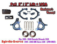 "99-07 Chevy Silverado GMC Sierra 1500 FULL Spindle 5"" Lift Kit 5"" / 3"" NBS + UCA"