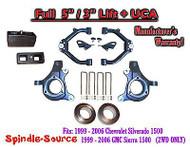 "99-07 Chevy Silverado GMC Sierra 1500 FULL Spindle 5"" Lift Kit 5"" / 3"" NBS + UCA"