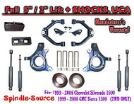 "99-07 Chevy Silverado GMC Sierra 1500 Spindle 5"" Lift Kit 5"" / 2"" + SHOCKS + UCA"