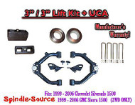 "99-07 Chevy Silverado GMC Sierra 1500 2WD LEVELING KIT 3"" / 3"" Coil Spacer + UCA"