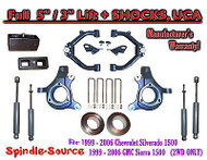 "99-07 Chevy Silverado GMC Sierra 1500 Spindle 5"" Lift Kit 5"" / 3"" + SHOCKS + UCA"