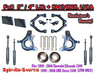 "99-07 Chevy Silverado GMC Sierra 1500 Spindle Lift Kit 5"" / 4"" Off+ SHOCKS + UCA"