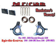 "99-07 Chevy Silverado GMC Sierra 1500 Spindle Lift Kit 5"" / 4"" NBS Offset Block"