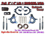 "99-07 Chevy Silverado GMC Sierra 1500 Spindle Lift Kit 6"" / 4"" + SHOCKS + UCA"