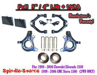 "99-07 Chevy Silverado GMC Sierra 1500 Spindle Lift Kit 5"" / 4"" NBS Offset + UCA"