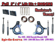 "99-07 Chevy Silverado GMC Sierra 1500 Spindle Lift Kit 5"" / 4"" Offset + SHOCKS"