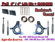 "99-07 Chevy Silverado GMC Sierra 1500 Spindle Lift Kit 6"" / 4"" Offset + SHOCKS"