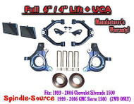 "99-07 Chevy Silverado GMC Sierra 1500 Spindle Lift Kit 6"" / 4"" NBS Offset + UCA"