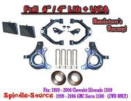 "99-07 Chevy Silverado GMC Sierra 1500 Spindle Lift Kit 6"" / 4"" NBS Offset + UCA"