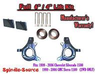 "99-07 Chevy Silverado GMC Sierra 1500 Spindle Lift Kit 6"" / 4"" NBS Offset Block"
