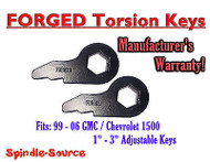 New Torsion Leveling FRONT FORGED LIFT KEYS 1999 - 2006 Chevrolet GMC 1500 3in