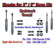 "Shock Kit for 88 - 98 Chevy / GMC C1500 w/ Drop Coils Flip Kit Shackles 3"" / 5"""