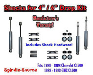 "Shock Kit for 88 - 98 Chevy / GMC C1500 w/ Spindles Drop Coils Flip Kit 4"" / 6"""