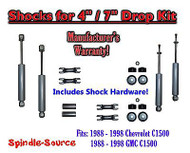 "Shock Kit for 88 - 98 Chevy / GMC C1500 w/ Spindles Drop Coils Flip Kit 4"" / 7"""