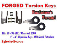 Torsion Level FRONT FORGED LIFT KEYS + EXTENDER 1988 - 98 Chevrolet GMC 1500 3in